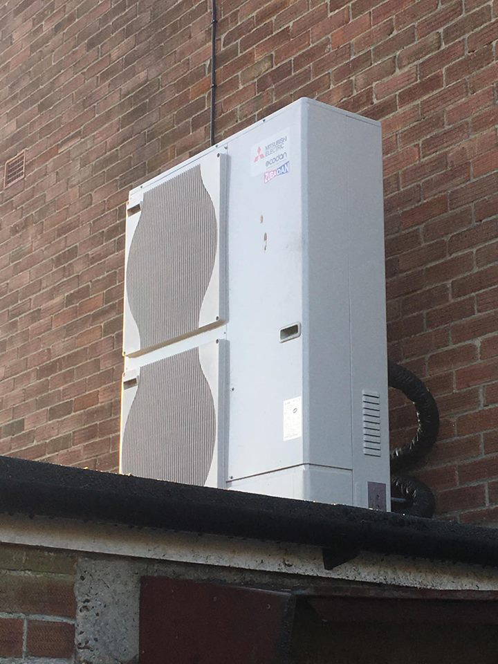 image of mrs butchers air source heat pump installation