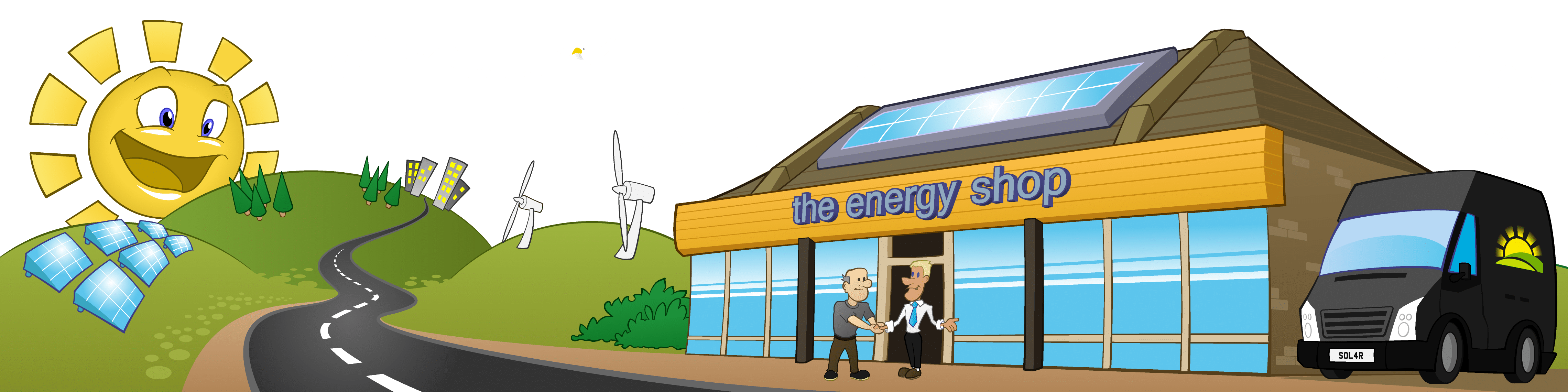 This is our 'Greenscape Street' image with the Energy Shop, fields and solar panels - an artists impression of our home on Woodbridge Road, Ipswich.