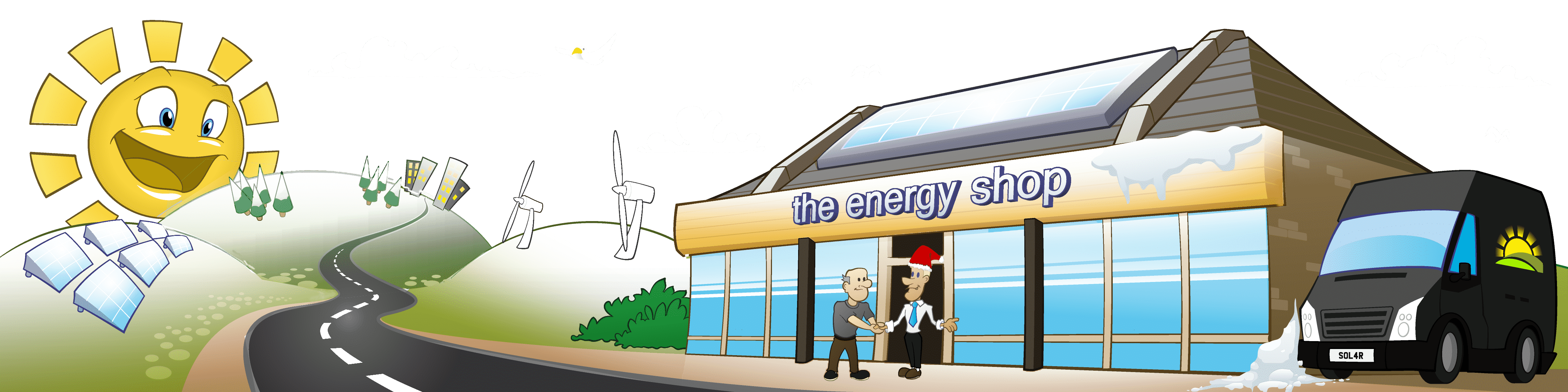 This is the snow-covered version of our 'Greenscape Street' image, with the Energy Shop, fields and solar panels. Happy Christmas!